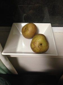 Packham Pears on a sill