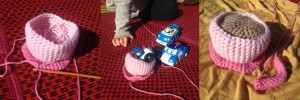Crochet and Robo Poli outside