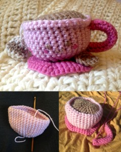 Making an Amigurumi Tea Cup in the sun  – Psst, the back ground will be featured in the next post..