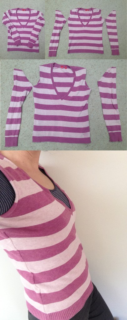 Up cycled Stripe Jumper to Vest
